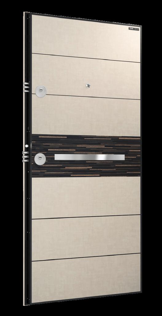 Врата Laminox L213 Бял камък/Черен масив