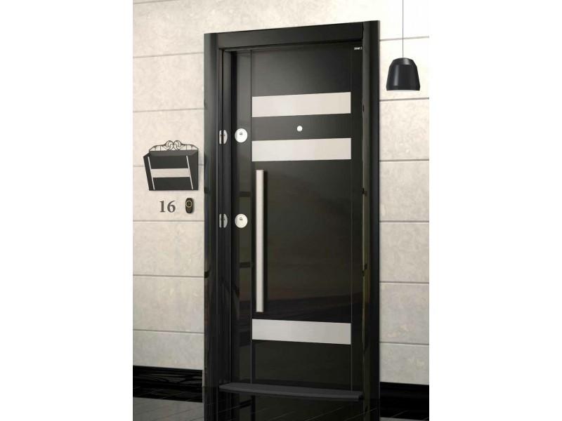 Входна врата Laminart 732 HG Black/Inox