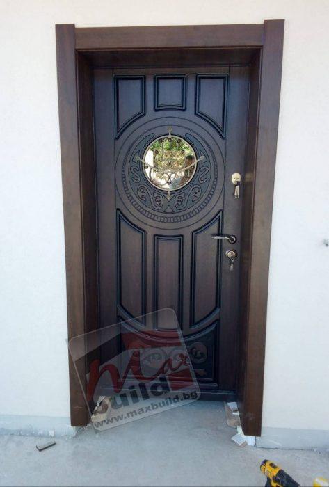 Входна врата за къща със стъкло (подходяща за външни условия) – 179 златен дъб, тъмен орех