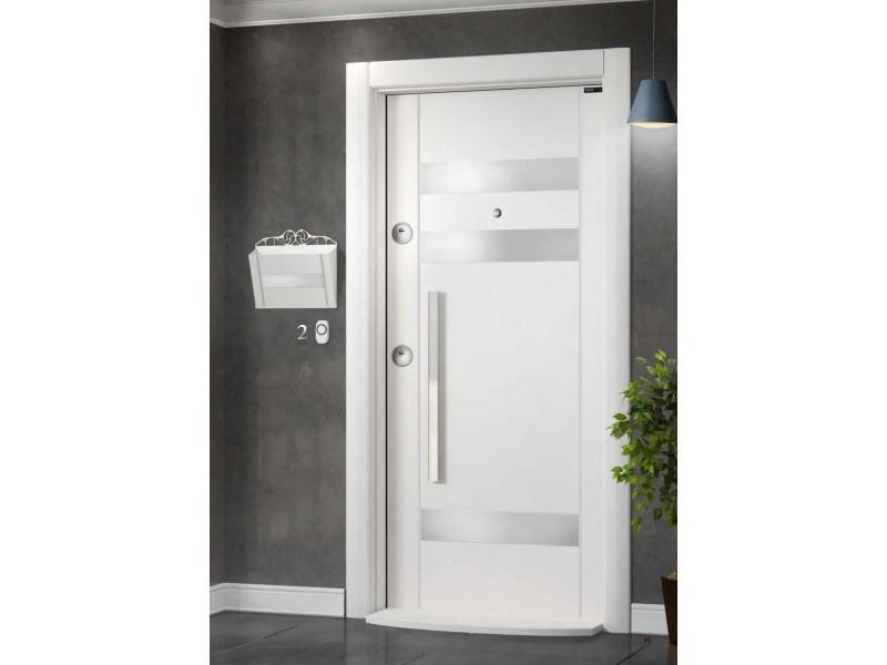 Входна врата Laminart R732 HG White/Inox
